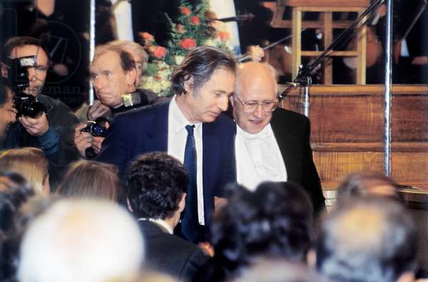 Alfred Schnittke with Mstislav Rostropovich in the Grand Hall of the Conservatory, Moscow 1993