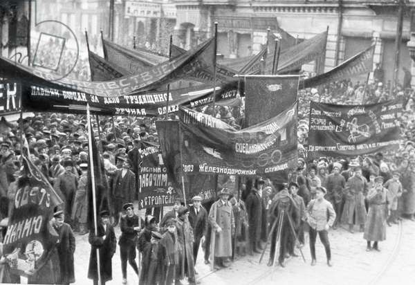 Rally in support for Soviet power in Vladivostok, 1922 (b/w photo)