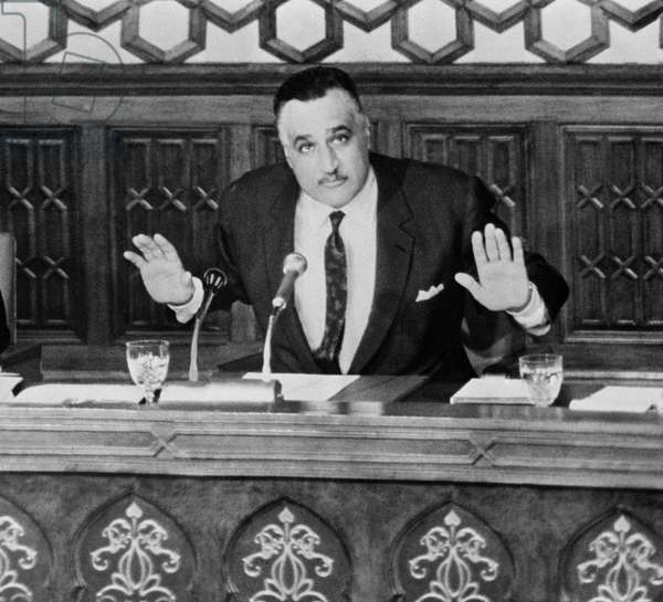 Egyptian President Gamal Nasser addressing the National Assembly of the United Arab Republic, 1967 (b/w photo)