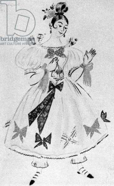Marya Antonovna, illustration from 'The Inspector-General' by Nikolai Gogol (litho)