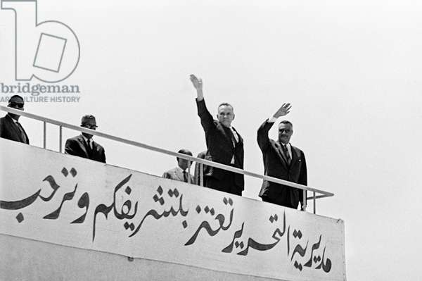 The visit of the of the USSR Council of Ministers Chairman Alexei Kosygin to the United Arab Republic. Alexei Kosygin (second from right) and President of the UAR Gamal Abdel Nasser (right) in al-Tahrir, 1966 (b/w photo)