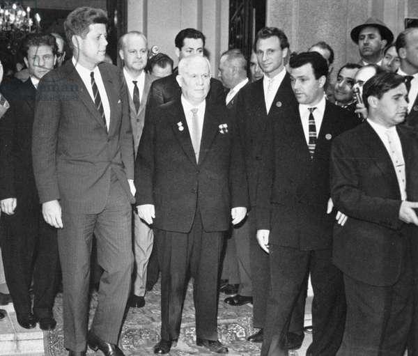 Nikita Khrushchev and President Kennedy at the Soviet Embassy in Vienna, 1961 (b/w photo)