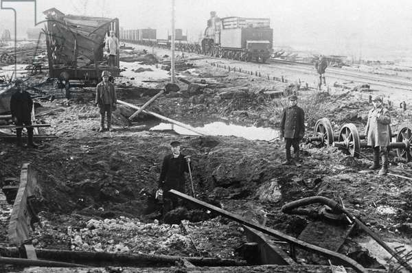 Destroyed railway station, 1919 (b/w photo)