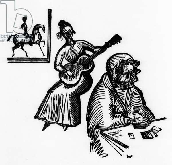 Illustration to Pushkin's poem 'The Little House in Kolomna (woodcut)
