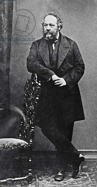 Father of modern anarchism Mikhail Bakunin, 1875 (b/w photo)