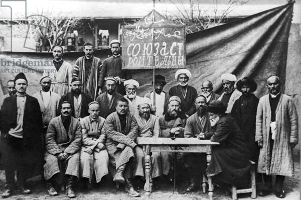 Members of Construction Workers' Union In Tashkent. 1917. Photo Reproduction From the Archives of the Tashkent Branch of the Central V.I. Lenin Museum. A. Varfolomeev/Sputnik (litho)