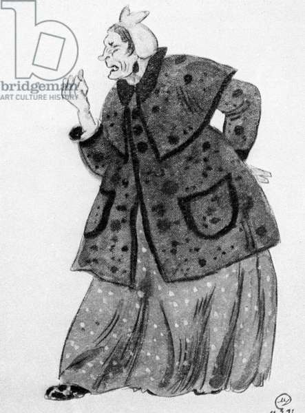 Mechanic Poshlepkina, illustration from 'The Inspector-General' by Nikolai Gogol (litho)