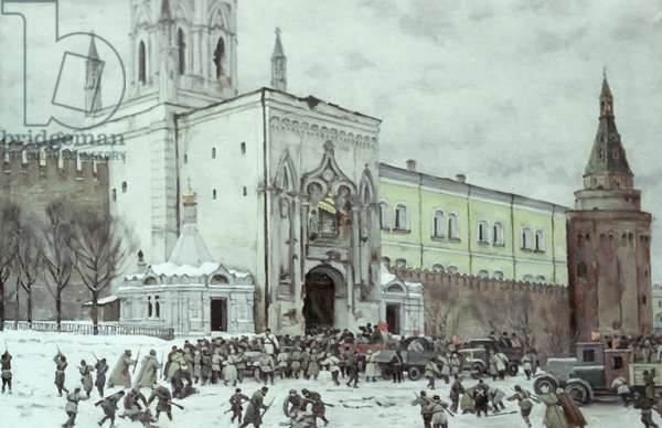The Taking of the Moscow Kremlin in 1917 (oil on canvas)