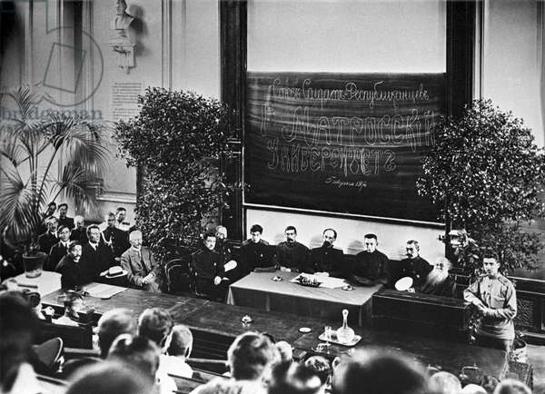 Members of the Provisional government during the opening ceremony of the 1st Sailors' university, auditorium of the Petrograd university, 5th August, 1917 (b/w photo)