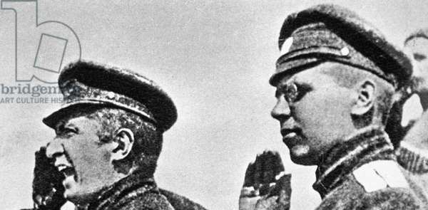 Minister of War Alexander Kerensky (left), 8th July, 1917 (b/w photo)