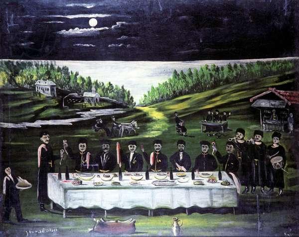 Feast in Kartli, 1909 (oil on rubber sheet)