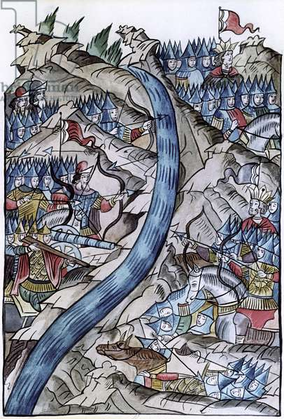 Battle of the Ugra between Russian and Tatar armies, in 1480, from 'The Illustrated Chronicle of Ivan the Terrible', c.1567 (vellum)
