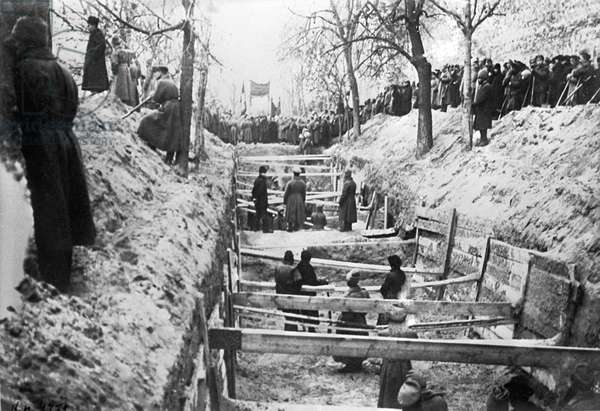 Red Guards Dig Common Grave, 1917 (b/w photo)