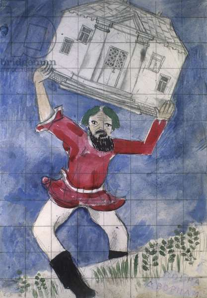 The Sketch For Marc Chagall's Poster 'Peace to Shacks, War to Palaces'. the Exhibition 'Agitation Art of First Revolution Years'. Vladimir Vdovin/Sputnik (litho)