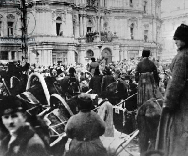 People in the streets of Kiev in the first days of revolution, 1917 (b/w photo)