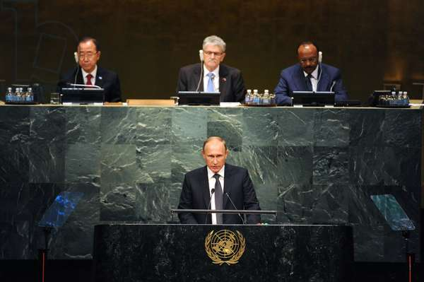 September 28, 2015, President of Russia Vladimir Putin, foreground, addresses a plenary meeting of the 70th session of the United Nations General Assembly in New York, Michael Klimentyev/Sputnik (photo)