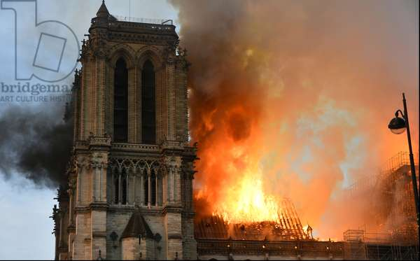 15.04.2019 Smoke billows from Notre Dame Cathedral after a fire broke out, in Paris, France (photo)