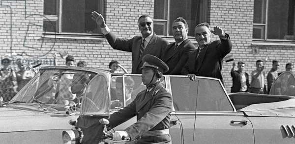 Left to right, Gamal Abdel Nasser, United Arab Republic President, Leonid Brezhnev and Anastas Mikoyan in a limousine on the way from the Vnukovo Airport to the Kremlin , 1965 (b/w photo)