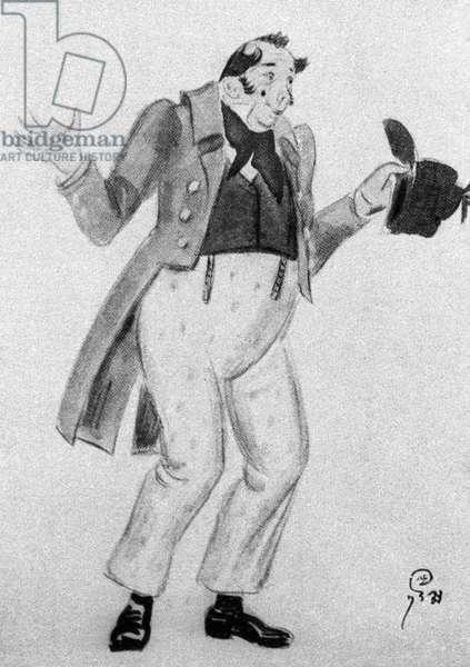 Dobchinsky, illustration from 'The Inspector-General' by Nikolai Gogol (litho)