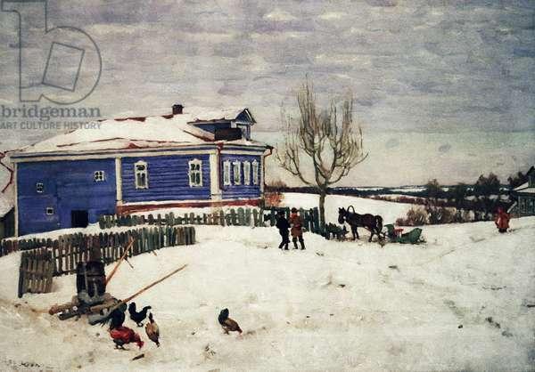 A Little Blue House (oil on canvas)