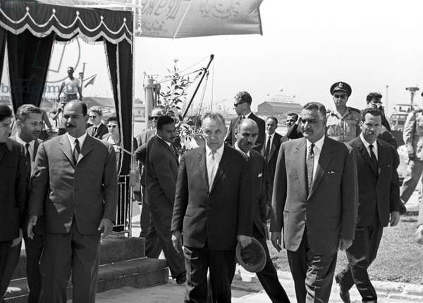 The visit of the of the USSR Council of Ministers Chairman Alexei Kosygin (center) to the United Arab Republic. Front right - the President of the United Arab Republic Gamal Abdel Nasser, 1966 (b/w photo)