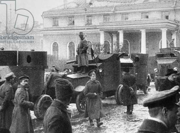 Red Guards Pose Next to Armored Cars, 1917 (b/w photo)
