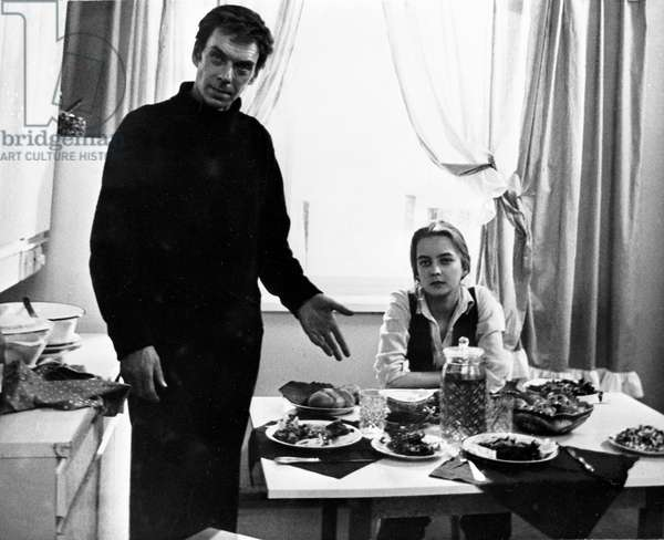 Alexei Batalov, People's Artist of the USSR, as Gosha, and Natalya Vavilova as Alexandra in the film 'Moscow Does Not Believe In Tears' by Vladimir Menshov, filmed at the Mosfilm Film Studio, 1979 (b/w photo)