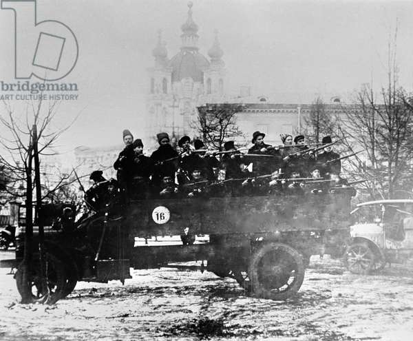 A squad of armed Red Army guards on truck, 1917 (b/w photo)