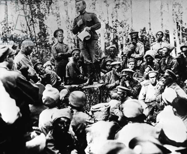 Rally of first army corps soldiers in the Western front, 1917 (b/w photo)