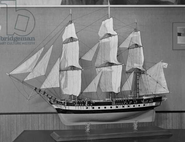 Model of corvette Vostok or Mirny, built in Saint Petersburg in 1818, on which Fabian Gottlieb von Bellingshausen and Mikhail Petrovich Lazarev commanded the second Russian expedition to circumnavigate the globe and reach Antarctica in 1819-1821 (mixed media)