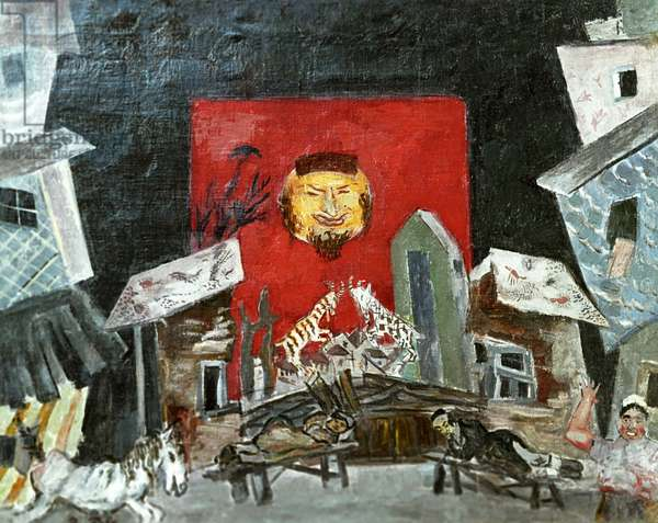 Stage design for a production of Veniamin III's 'Travel' (oil on canvas)