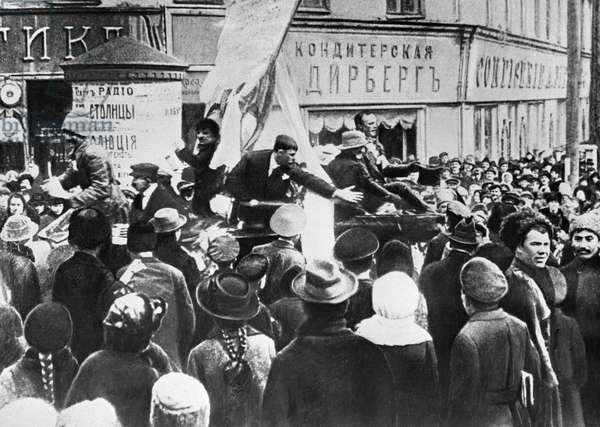 Demonstration during February Revolution , 1917 (b/w photo)