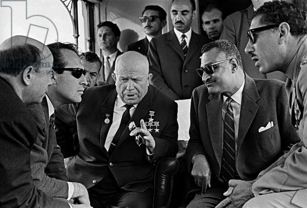President of the UAR Gamal Abdel Nasser (right) is speaking with the CPSU Central Committee First Secretary, Chairman of the Council of Ministers Nikita Khrushchev (left) during his official visit to the UAR, 1964 (b/w photo)