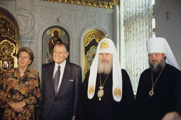 Chilean President Patricio Aylwin Azócar and Patriarch Alexy II of Moscow and All Russia meeting in Moscow, 1993 (photo)