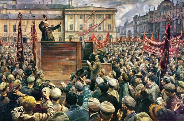 Vladimir Ilyich Lenin (1870-1924) Addressing the Red Army of Workers on 5th May 1920, 1933 (oil on canvas)