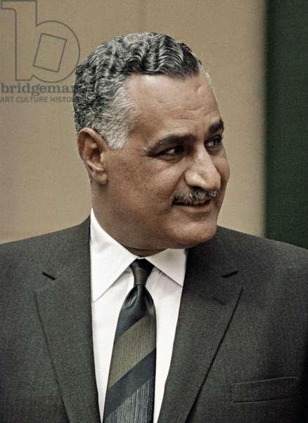 Gamal Abdel Nasser, President of the United Arab Republic, 1970 (b/w photo)