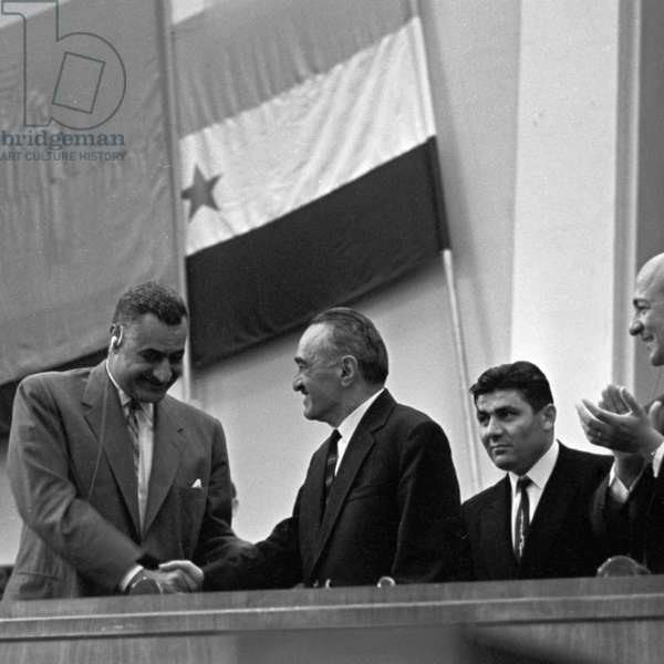 The President of the United Arab Republic (Egypt) Gamal Abdel Nasser and the Chairman of the Presidium of the USSR Supreme Soviet Anastas Mikoyan during the meeting, dedicated to the Soviet-Egyptian friendship at the Grand Kremlin Palace, 1965 (b/w photo)