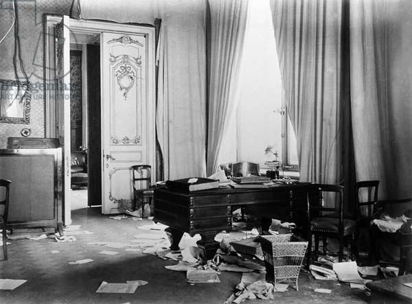 Room in Winter Palace After Storming, 1917 (b/w photo)