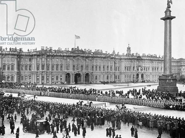 Emperor Nicholas II and Empress leaving the Winter Palace, 1913 (b/w photo)
