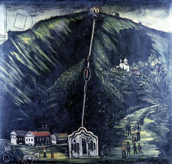 Funicular, 1909 (oil on rubber sheet)