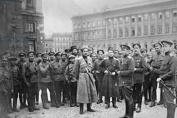 Troops Summoned by Kerensky from Frontline, 1917 (b/w photo)