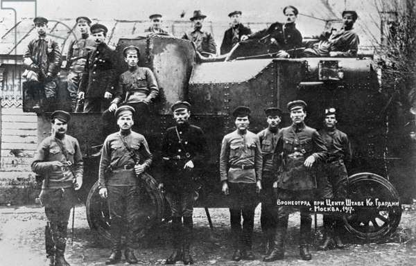 Armor squad of the Red Army central staff, 1917 (b/w photo)