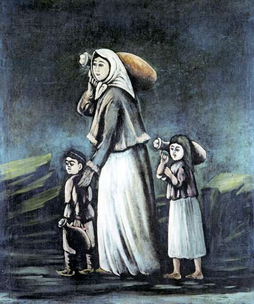 Peasant with Children Going for Water, 1909 (oil on rubber sheet)