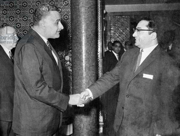 Egyptian President Gamal Abdel Nasser [left] greets Doctor of Philology and Arabic language professor Grigory Sharbatov from Institute of Asian and African Studies [right], 1965 (b/w photo)