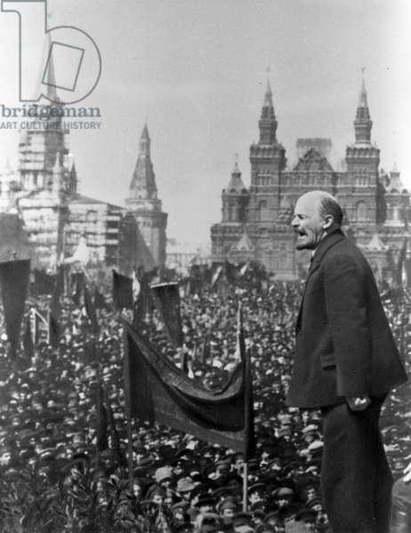 Vladimir Lenin at opening ceremony of monument to Stepan Razin , 1919 (b/w photo)