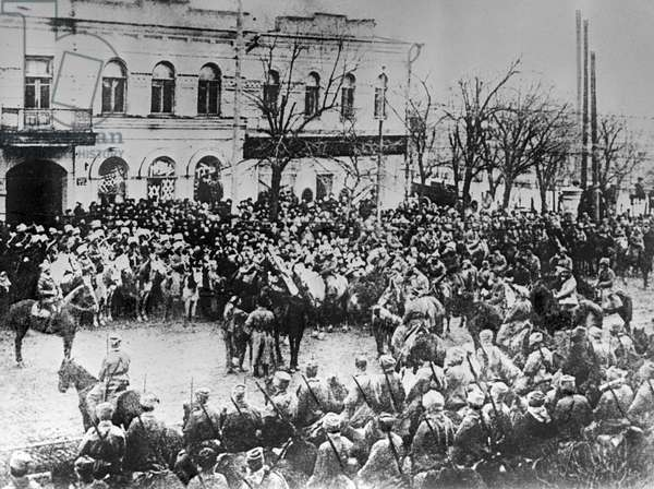 The ceremony of presenting the banner to the 1st Cavalry Army , 1920 (b/w photo)