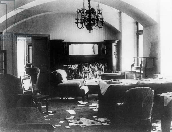 The study of Nicholas II in the Moscow Kremlin on the days of the October revolution, 1917 (b/w photo)