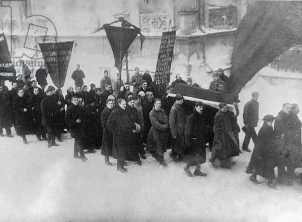 Red Guards Carry Coffin, 1917 (b/w photo)