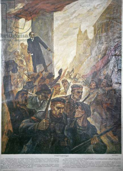 The Soviet Poster 'Spartacists', A Lithograph of Mikhailov's Painting, Ogiz-Izogiz, 1931. Mikhail Ozerskiy/Sputnik (litho)
