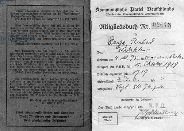 65335 01.08.1974 Secret agent Richard Sorge's  German Communist Party card.  RIA Novosti / Sputnik